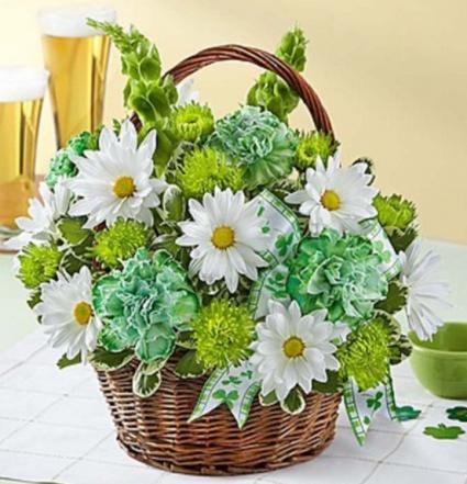 St. Patrick's Day Flower Basket '18 Arrangement