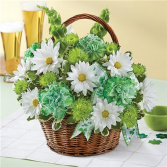 St. Patrick's Day Flower Basket Flower Arrangement