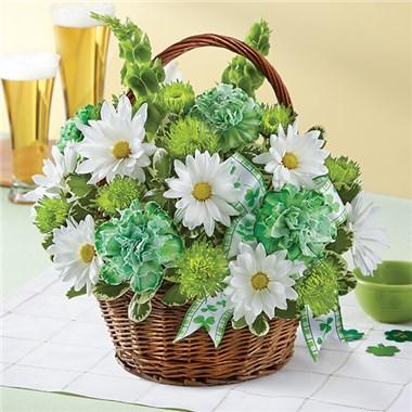 St. Patrick's Day Flower Basket Flower Arrangement