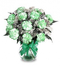 St. Patty's Day Carnations Vase Arrangement