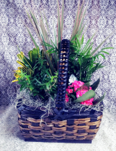 Stained Basket with Green & Blooming Plants