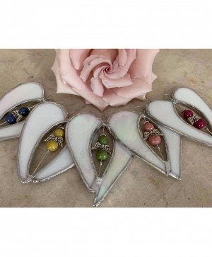 Stained Glass Bloomin Bead Angel Ornament  in Wilton, NH | WORKS OF HEART FLOWERS