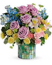 Stained Glass Blooms Mosaic Glass Cylinder in Granville, New York | The Florist at Mandy's Spring