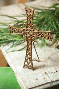 Stand on Solid Rock Cast Iron Cross with Easel