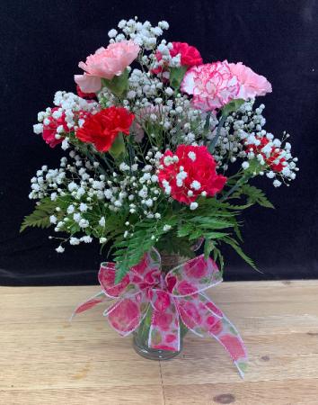 Standard Dozen Carnations Vase