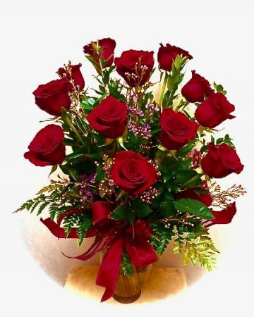 Standard Dozen Roses Vase
