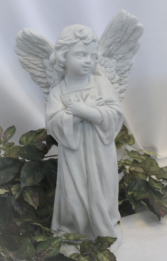 STANDING ANGEL FIGURE - STONE ANGEL FIGURE - STANDING