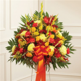 Standing Basket In Fall Colors Sympathy Arrangement