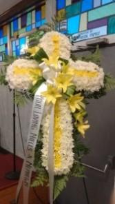 standing cross funeral arrangement