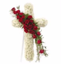 Standing Cross With Red Roses Standing Spray