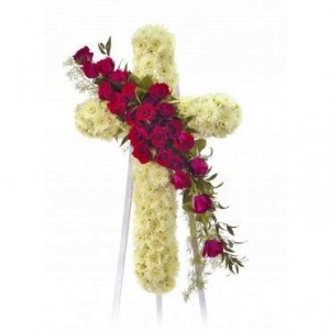 STANDING CROSS WITH ROSES Funeral Flowers in Riverside, CA | Willow Branch Florist of Riverside