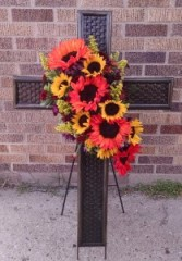 Standing Cross with Sunflowers Many Floral Options Available for these Crosses.  Also available in White
