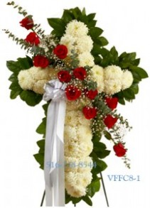 Standing Faithful Cross White Funeral Cross