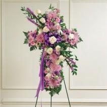Standing Lavender Cross Funeral Flowers