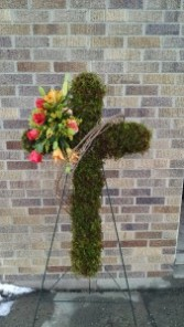Standing Moss Cross - AWF10A Standing Spray