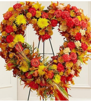 Standing Open Heart in Fall Colors Sympathy Flowers in Croton On Hudson, NY   Cooke's Little Shoppe Of Flowers