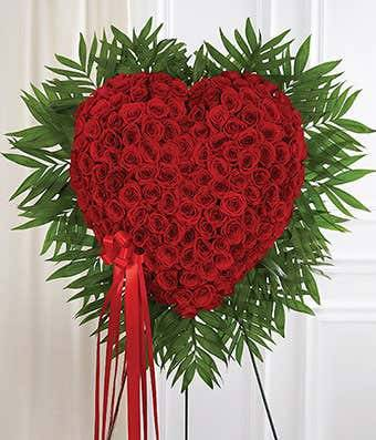 Standing Red Rose Bleeding Heart Standing Sprays & Wreaths