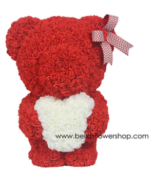 """20""""  Red Standing Rose Teddy Bear Hugging Heart DISPLAY BOX INCLUDED in Bronx, NY   Bella's Flower Shop"""