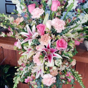 Designers choice funeral standing spray   Funeral Arrangement