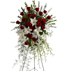 Standing Spray Elegant Red Roses and Lilies in Clearwater, FL | FLOWERAMA