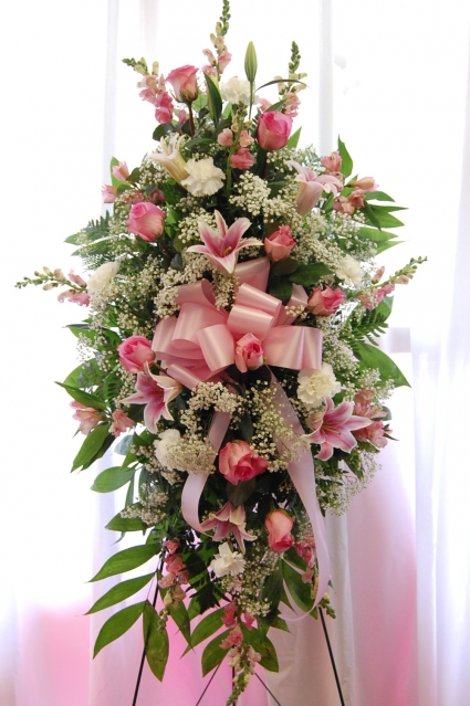 PINK COMFORT SPRAY FUNERAL FLOWERS
