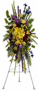 SS 7-Standing spray of mixed flowers Flowers and colors may vary