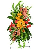 SS 4-Standing spray of mixed flowers Flowers and colors may vary