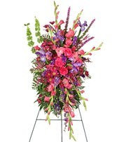 SS 6-Standing spray of mixed flowers Flowers and colors may vary