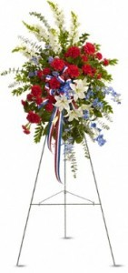 SS 9-Standing spray of mixed flowers Flowers and colors may vary