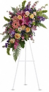 SS 2-Standing spray of mixed flowers Flowers and colors may vary, also available in other sizes