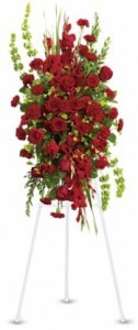 SS 3-Standing spray of roses Flowers and colors may vary