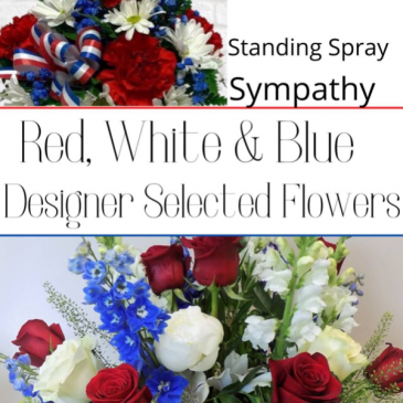 Standing Spray Red, Whote & Blue
