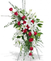 STANDING SPRAY/LILLY AND RED ROSE FUNERAL SPRAY FOR SERVICE/MEMORIAL