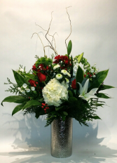 Standing Tall! Silver dimple vase arrangement