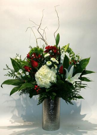 Standing Tall! Silver dimple vase arrangement