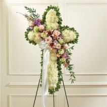 Standing White Cross with Break Funeral Flowers