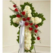 Standing White Cross with Red Break Funeral Flowers