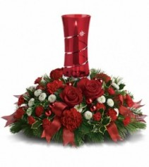 EXCLUSIVELY AT FLOWERS TODAY FLORIST Star Bright Glass Hurricane Centerpiece
