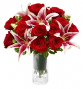 STARFIGHTER LILIES & RED ROSES ARRANGEMENT