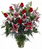 Stargaze One Dozen Roses with Lilies