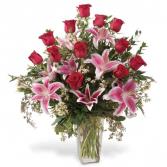 stargazer and roses vase arrangement