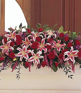 Stargazer Lily and Roses Casket Spray in Mechanicsburg, PA | Garden Bouquet