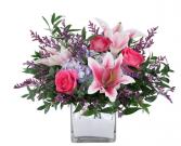 Stargazer lily & Hydrangea & Roses  Vase