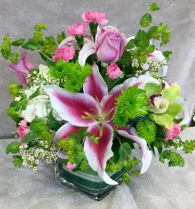 FRAGRANT GARDEN Pink, Green & Purple Arrangement in Worthington, OH | UP-TOWNE FLOWERS & GIFT SHOPPE