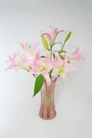 STARGAZER & ORIENTAL LILIES Modern tall vase