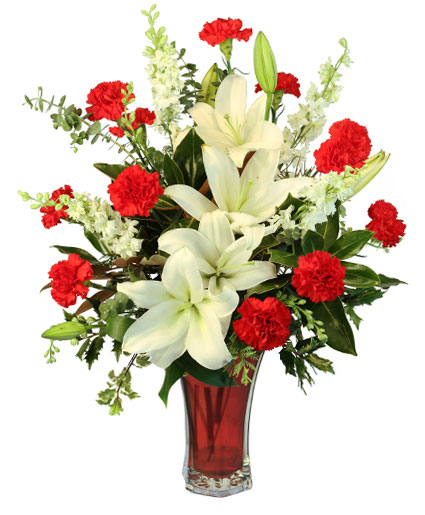 starry holiday flower arrangement in greenfield ma floral affairs