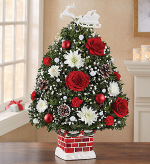Starry Night Holiday Tree Hand Made In Re-Usable Ceramic Chimney in Oakdale, NY | POSH FLORAL DESIGNS INC.