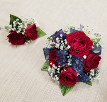 Starry Night Wrist corsage and boutonniere