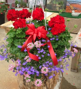 Stars and Stripes Basket Hanging Basket