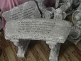 Stars Concrete Bench or plaque Bench - $110.00  Plaque - $65.00 Includes a silk spray to attach Sympathy card to.